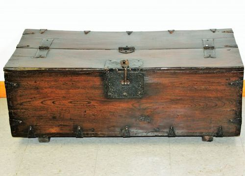 19th C. Korean  Joseon Dynasty Coin Chest, Elmwood & Black Iron mount