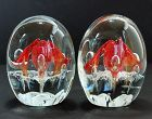 Pair Glass Paperweight, Bookends