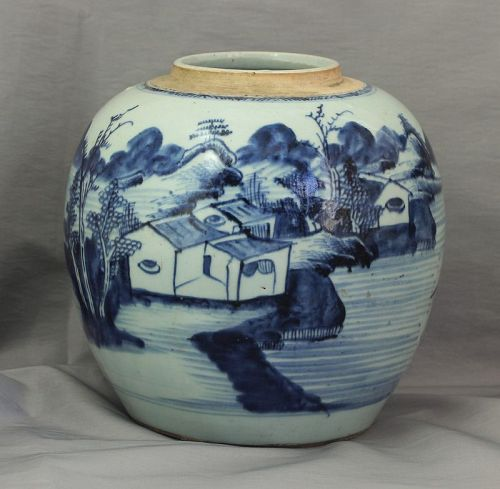 Chinese Canton Blue & White  Porcelain Ginger Jar with Wood Cover