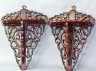 Pair Chinese Rosewood folding Wall Shelves, carved open Foliage