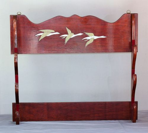 Korean Lacquered Wood Sword Rack, Brass inlaid Geese