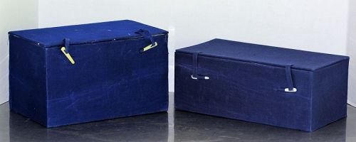2 Chinese Blue Fabric Storage Boxes