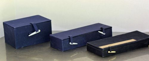 3 Chinese Blue Fabric covered Storage Boxes