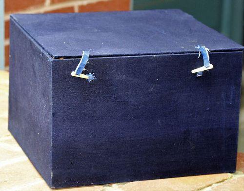 Chinese Blue Fabric Covered Storage Box