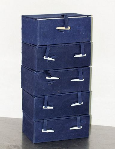 5 Chinese Blue Fabric covered Storage Boxes