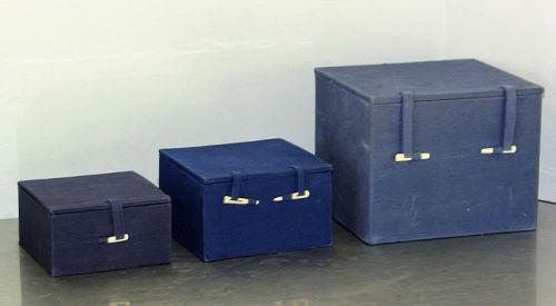 3 Chinese Blue Fabric Covered Storage Box