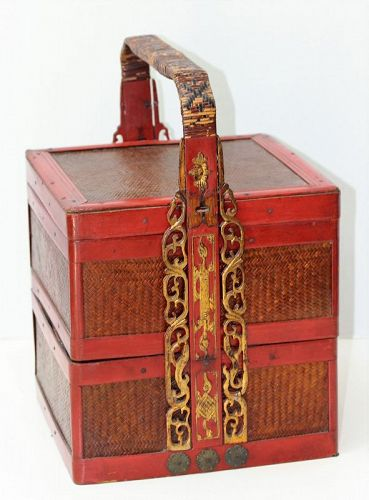 Chinese Bamboo Food Basket, Red Lacquer