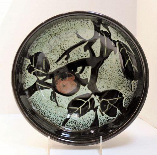 Japanese Heavy Ceramic deep serving Bowl, Persimmon design