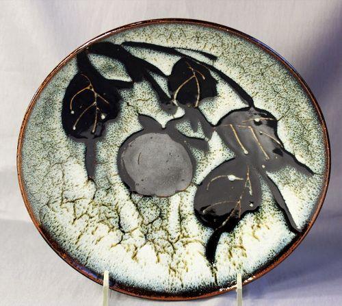 Japanese Ceramic Persimmon design deep Charger, serving Dish