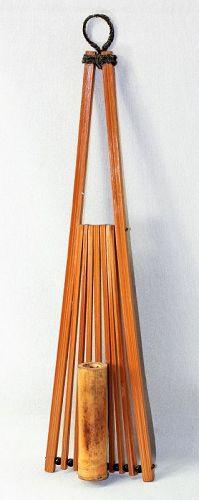 Japanese Bamboo Ikebana Fan shape Wall Vase