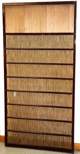 Japanese Sliding Door, Reed, Kiri Wood and lacquer Frame