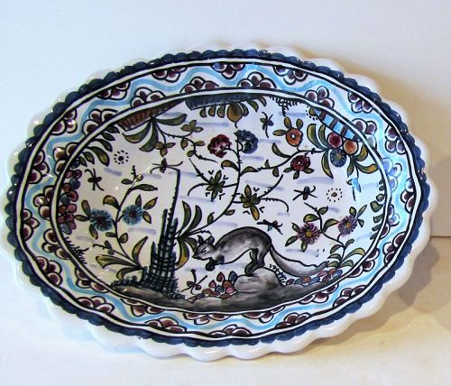 Portuguese Ceramic hand painted deep soap dish