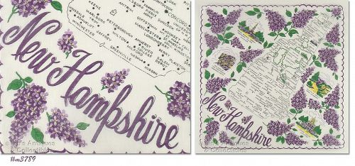 STATE SOUVENIR HANDKERCHIEF, NEW HAMPSHIRE