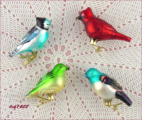 SET OF 4 BIRD (CLIP) ORNAMENTS
