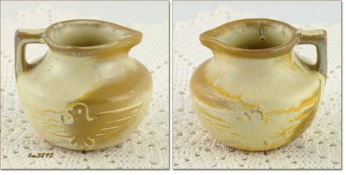 FRANKOMA POTTERY VINTAGE MINI PITCHER WITH EAGLE DESIGN