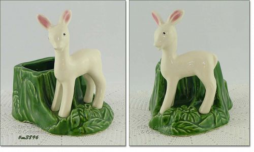 SHAWNEE POTTERY VINTAGE WHITE FAWN BY STUMP PLANTER