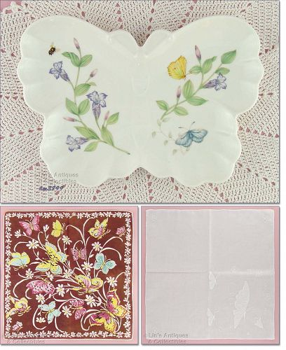 TWO BUTTERFLY HANKIES AND A LENOX BUTTERFLY TRAY