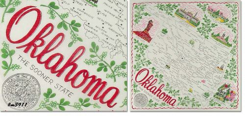 STATE SOUVENIR HANKY, OKLAHOMA, �THE SOONER STATE�