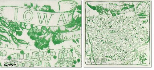 STATE SOUVENIR HANKY, IOWA, �THE HAWKEYE STATE�