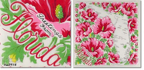 STATE SOUVENIR HANKY, �GREETINGS FROM FLORIDA�