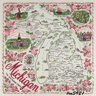 STATE SOUVENIR HANKY, MICHIGAN, �THE WOLVERINE STATE�