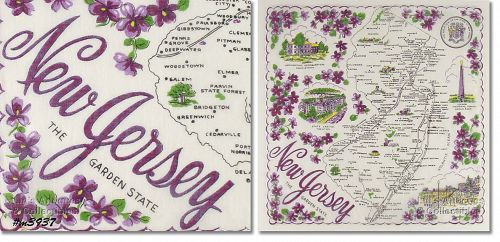 STATE SOUVENIR HANKY, NEW JERSEY, �THE GARDEN STATE�