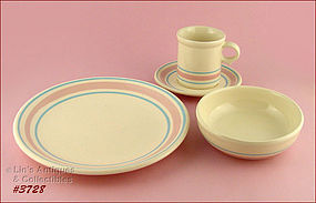 McCOY POTTERY � PINK AND BLUE DINNERWARE FOR 4 (16 PCS)