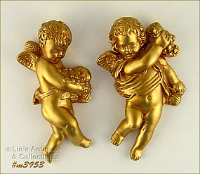 PAIR OF CHALKWARE ANGELS