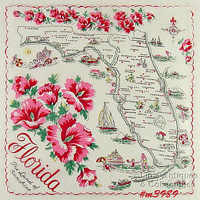 STATE SOUVENIR HANKY, FLORIDA �THE LAND OF SUNSHINE�