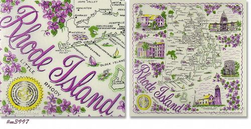 STATE SOUVENIR HANKY, RHODE ISLAND �LITTLE RHODY�