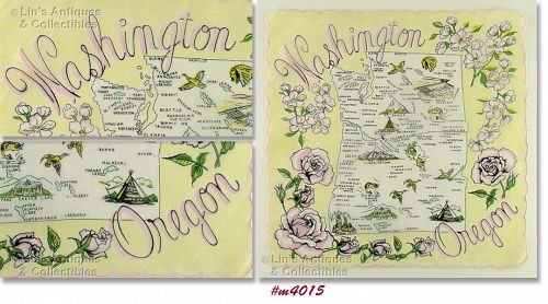 STATE SOUVENIR HANDKERCHIEF, WASHINGTON AND OREGON