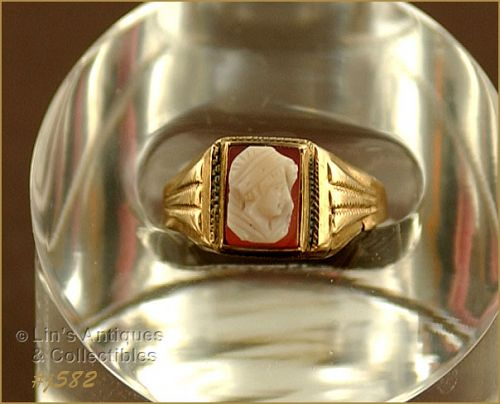 VINTAGE 10k ROSE GOLD CAMEO RING SIZE 6 1/2