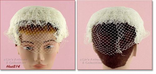 VINTAGE WEDDING HAT WITH NETTING VEIL OR CHAPEL HAT/HEAD COVERING