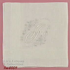 WHITE �J� MONOGRAM HANDKERCHIEF