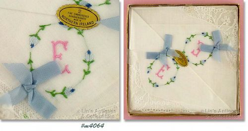 TWO �E� MONOGRAMMED HANKIES (MIB)