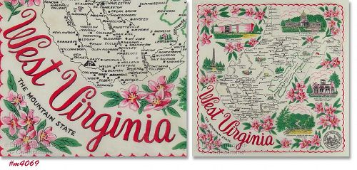 SOUVENIR HANKY, WEST VIRGINIA �THE MOUNTAINEER STATE""