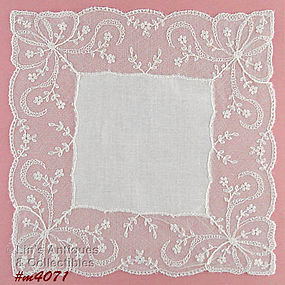 WHITE WEDDING HANDKERCHIEF