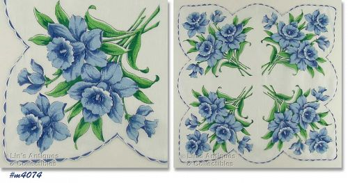 BLUE DAFFODILS LARGER SIZE HANDKERCHIEF