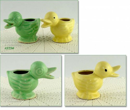 McCOY POTTERY � BABY DUCK PLANTER CHOICE OF GREEN OR YELLOW COLOR