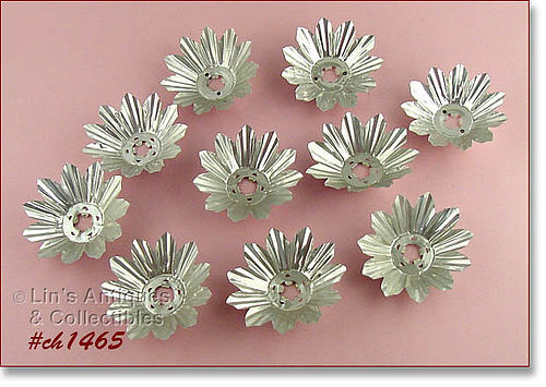 LOT OF 10 SILVER COLOR VINTAGE CHRISTMAS TREE LIGHT REFLECTORS