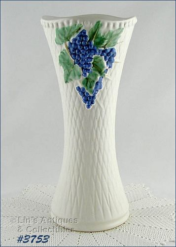 McCOY POTTERY VINTAGE WHITE ANTIQUE CURIO 14 INCHES TALL VASE