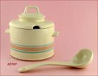 McCOY POTTERY � PINK AND BLUE TUREEN WITH LADLE