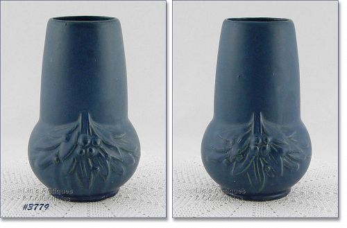 "McCOY POTTERY 7 3/4"" BLUE LEAVES AND CHERRIES VINTAGE STONEWARE VASE"