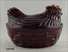 McCOY POTTERY � HEN ON A BASKET COOKIE JAR (BROWN DRIP