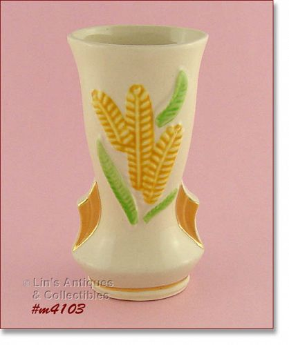 SHAWNEE POTTERY VINTAGE YELLOW FRONDS VASE WITH GOLD TRIM