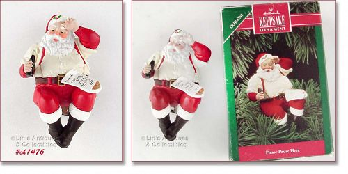 HALLMARK VINTAGE COCA COLA SANTA ORNAMENT DATED 1992