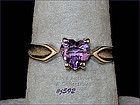 SILVER RING WITH HEART SHAPED AMETHYST (SIZE 8)