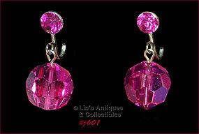 VINTAGE HOT PINK GLASS BEAD EARRINGS