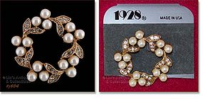 RHINESTONES AND FAUX PEARL BROOCH BY 1928