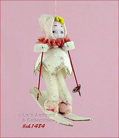 VINTAGE GIRL SKIER ORNAMENT